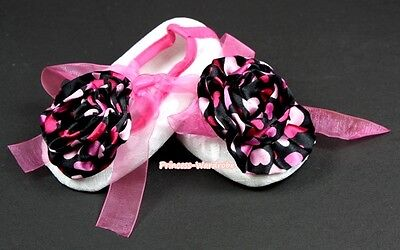 Infant Baby White Lace Hot Pink Ribbon Crib Shoes Black Pink Heart Roses NB-18M