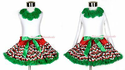 Xmas Kelly Green Pettiskirt Skirt Tutu Red Pettitop with Rosettes Girl Set 1-8Y