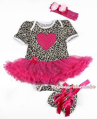 Valentine Hot Pink Heart Leopard Bodysuit Hot Pink Girl Baby Dress Shoes NB-12M