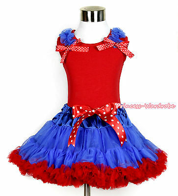 Xmas Red Vest Tank Top Ruffle Bow Royal Blue Red Girl Skirt Pettiskirt 1-8Year