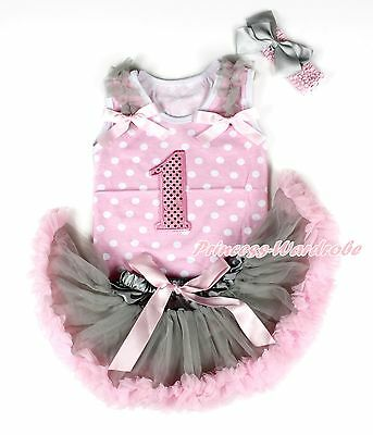 Sparkle 1ST Pink White Dot Top Gray Pink Newborn Baby Girl Pettiskirt 3-12Month