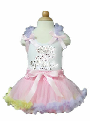 White Top Rhinestone Calm & Sparkle Pink Rainbow Newborn Baby Skirt 3-12Month