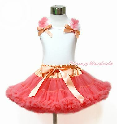 Coral Ruffle Bow White Top Coral Tangerine Baby Girl Pettiskirt 1-8Year