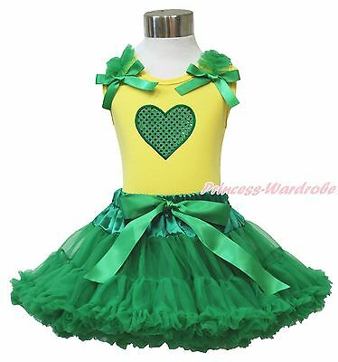 Valentine Sparkle Green Heart Yellow Pettitop Baby Girl Green Pettiskirt 1-8Year