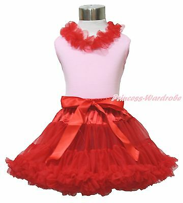 Red Ruffle Pink Pettitop Hot Red Pettiskirt Tutu Outfit Set Girl Clothing 1-8Y