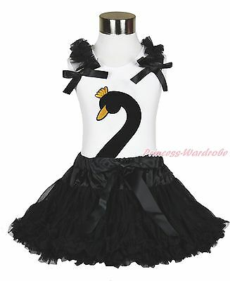 Easter Swan Print Black Pettitop Pettiskirt Baby Girl Outfit Set Costume 1-8Y