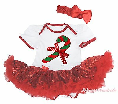 XMAS Candy Cane White Bodysuit Sparkle Red Sequin Pettiskirt Baby Dress NB-18M