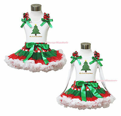 1ST XMAS Snow Christmas Tree Top Green White Dot Red Skirt Baby Girl Outfit 1-8Y