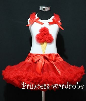 White Top Xmas Red Ice Cream Pettiskirt Girls Skirt Clothing Outfit Set 1-8Year