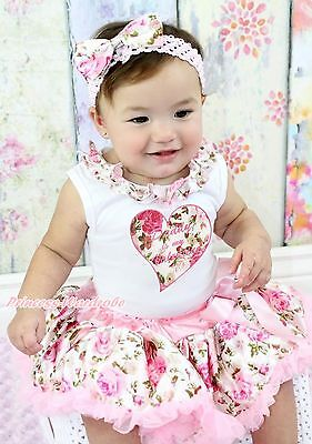 Daddy Is Valentine Heart Rose Lacing White Top Newborn Baby Pettiskirt Set 3-12M