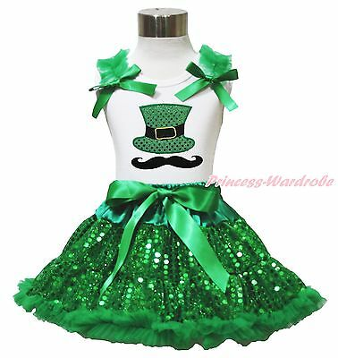 St Patrick's Day Mustache Hat White Top Girl Green Sequin Pettiskirt Set 1-8Year