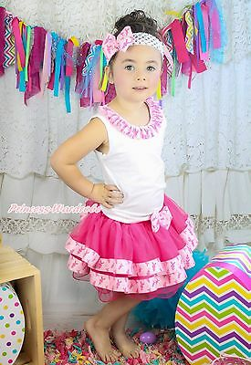 Easter Lacing White Top Hot Pink Bunny Satin Trim Pettiskirt Girl Outfit NB-8Y