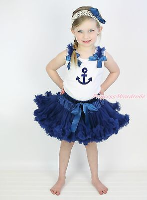 White Shirt Top Sailor Print Navy Blue Pettiskirt Girl Outfit Clothing Set 1-8Y
