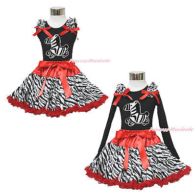 Black Shirt Top Animal Red Zebra Pettiskirt Baby Girl Clothing Outfit Set 1-8Y