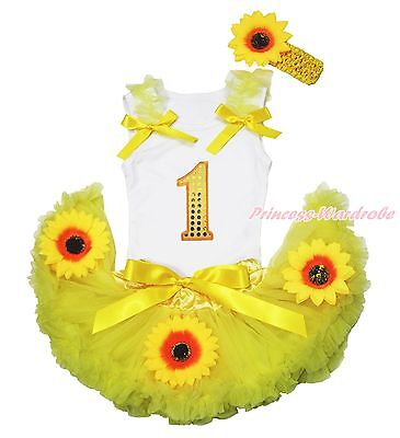 White Top Summer Yellow Bling Birthday 1ST Sunflower Baby Skirt Outfit Set 3-12M