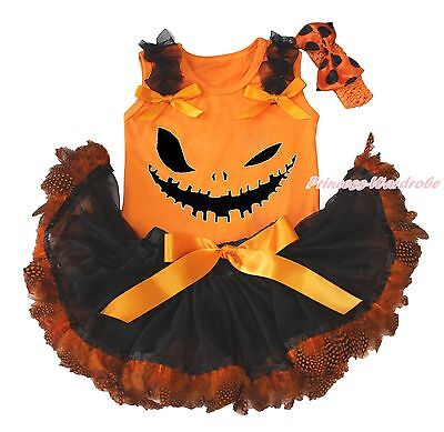 Halloween Ghost Face Orange Top Shirt Girl Black Feather Baby Skirt Outfit 3-12M