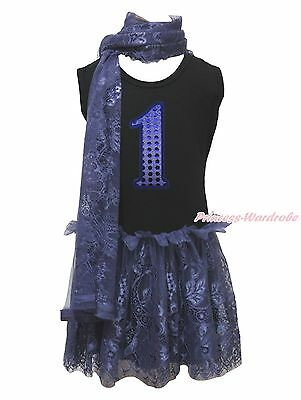 Birthday 1ST Black Sleeveless Navy Blue Lace Girls Party Dress Scarf Outfit 1-8Y