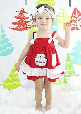 Xmas Santa Claus Head Red White Baby Girl Elegant Swing Top Bloomer Outfit NB-2Y