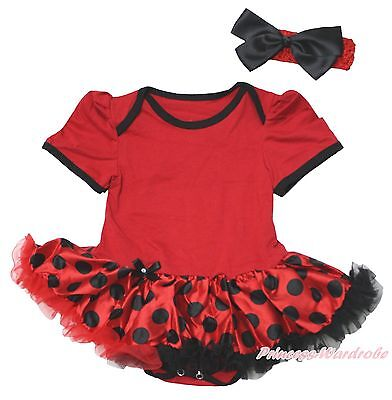 Plain Beetle Ladybug Halloween Red Bodysuit Girl Black Dot Baby Dress Set NB-18M