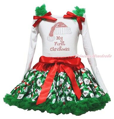 Rhinestone My 1ST Christmas Hat White Top Santa Claus Skirt Girl Outfit Set 1-8Y