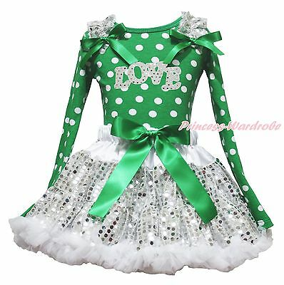 Valentine Sparkle LOVE Green White Dot Top Bling Sequins Skirt Girls Outfit 1-8Y