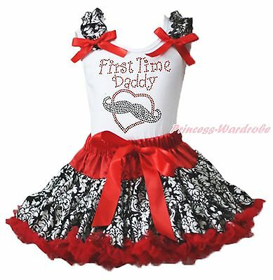 Valentine First Time Daddy Mustache Heart White Top Red Damask Girls Skirt 1-8Y