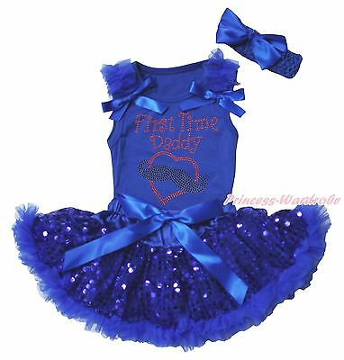 Valentine First Time Daddy Mustache Heart Girls Blue Top Bling Baby Skirt 3-12M
