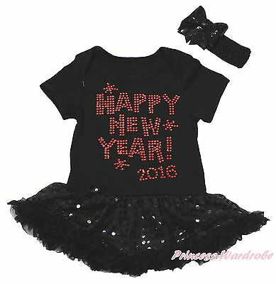 Happy New Year 2016 Black Bodysuit Girls Bling Sequins Baby Dress Outfit NB-18M