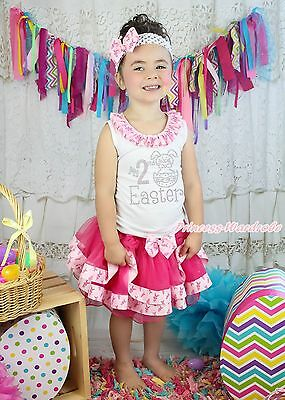 My 2ND Easter Egg Bunny White Top Rabbit Hot Pink Satin Trim Skirt Girls NB-8Y