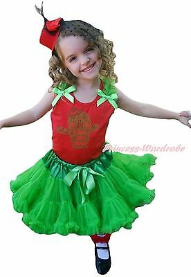 Cinco de Mayo Cactus Red Top Girl Bright Green Mexico Skirt Outfit Set 1-8Year