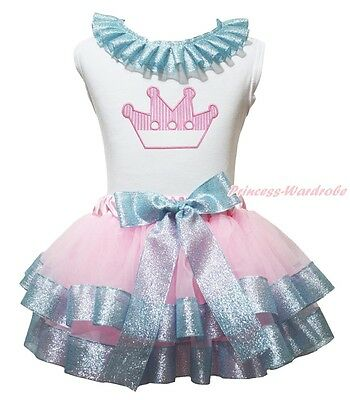 Lacing White Cotton Top Crown Pink Bling Blue Satin Trim Skirt Girl Outfit NB-8Y