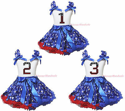 4th July Birthday 1ST 2ND 3RD White Top Girl Patriotic Star Skirt Outfit 1-8Year
