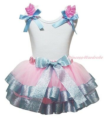 Plain White Top Ruffle Bow Pink Bling Blue Satin Trim Skirt Girl Outfit NB-8Year