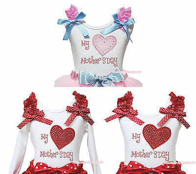 Valentine My Heart Mother Day Baby Girls Cotton White Top Pettitop Shirt NB-10Y