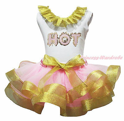 HOT Lacing White Cotton Top Pink Bling Gold Satin Trim Skirt Girls Outfit NB-8Y