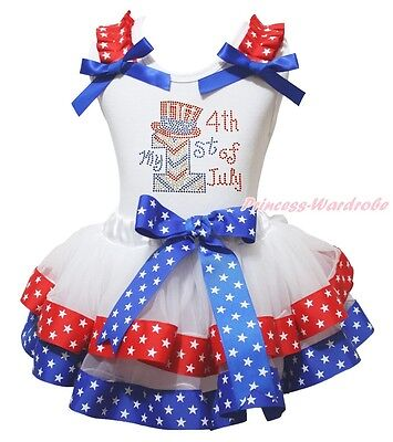 MY 1ST 4th July Hat White Cotton Top RWB Star Satin Trim Skirt Girl Outfit NB-8Y