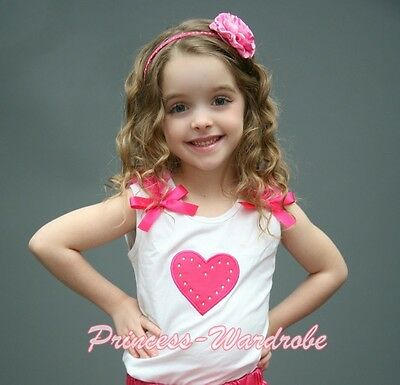 Valentine White Pettitop Top Hot Pink Ruffles Heart with Bows For Skirt NB-8Year