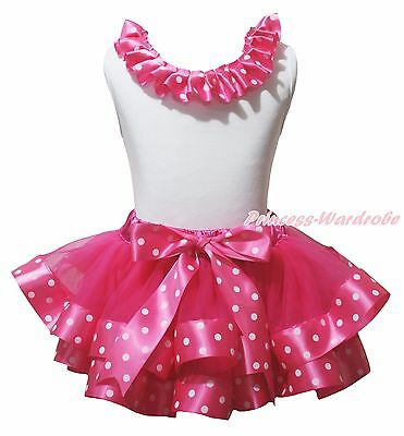 Plain Valentine White Cotton Top Hot Pink Dot Satin Trim Girl Skirt Outfit NB-8Y
