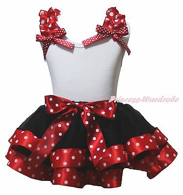 Plain White Cotton Top Red Minnie Dots Black Satin Trim Girls Skirt Outfit NB-8Y
