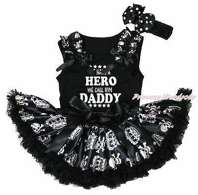 We Have Hero Call Him Daddy Black Top Skull Crown Girls Baby Skirt Outfit 3-12M