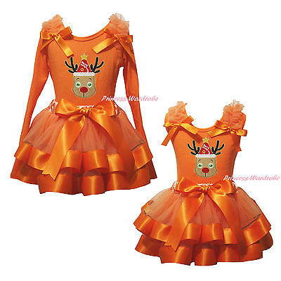 Christmas Xmas Hat Reindeer Deer Orange Top Satin Trim Skirt Girls Outfit NB-8Y