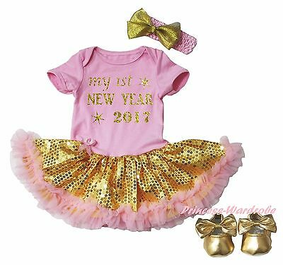 1ST New Year 2017 Pink Bodysuit Gold Bling Sequins Girls Baby Dress Shoes NB-18M