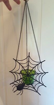 Partylite Hanging Spider Web Votive Candle Holder Black Metal & Green Glass NIB