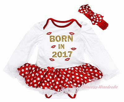 Born In 2017 Lips White L/S Bodysuit Minnie Dots Girls Baby Dress Outfit NB-18M