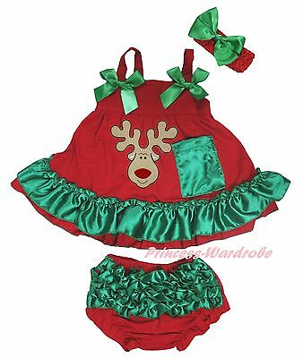 Xmas Reindeer Deer Newborn Baby Girl Red Green Swing Top Bloomer Outfit Set 0-2Y