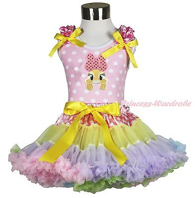 Easter Bow Bunny Pink White Dots Top Dot Waist Rainbow Girl Pettiskirt Set 1-8Y