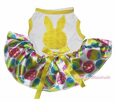 Easter Rose Bunny Rabbit White Top Rainbow Egg Skirt Pet Dog Puppy Cat Dress Bow