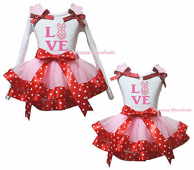 Easter Love Dot Bunny White Top Pink Minnie Satin Trim Girls Skirt Outfit NB-8Y