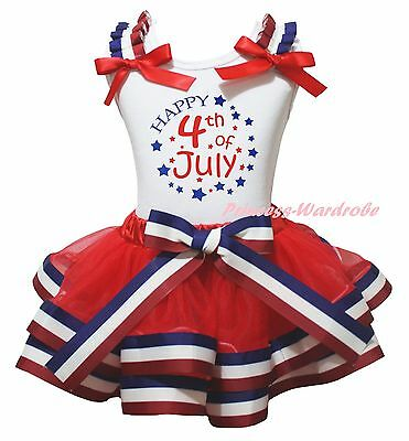 Happy 4th July Star White Top Red White Blue Striped Satin Trim Skirt Girl NB-8Y