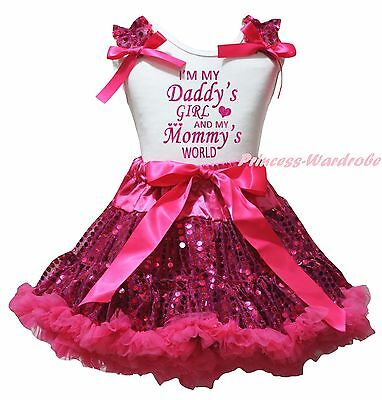I M My Daddy Girl Mommy World White Top Hot Pink Bling Sequins Skirt Outfit 1-8Y
